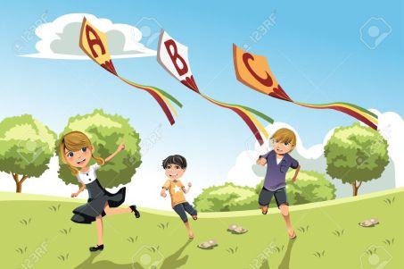 14374142-una-ilustración-de-tres-niños-jugando-en-un-parque-corriendo-con-cometas-alfabeto-Foto-de-archivo
